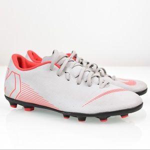 Nike Mercurial Vapor Gray Red Soccer Cleats SZ 8